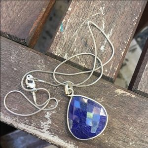 Double-sided Multifaceted lapis sliver necklace